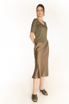 Сатиновая юбка, оливковый