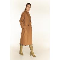 Двубортное пальто с отстрочкой, кемел