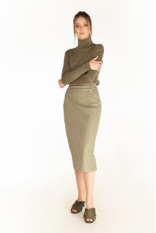 Стеганая юбка, оливковый