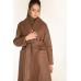 Стеганое пальто из эко-кожи, коричневый