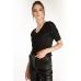 Широкие брюки из эко-кожи, черный