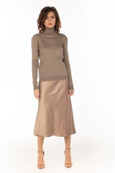 Сатиновая юбка, капучино