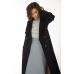 Двубортное пальто с отстрочкой, черно-синее