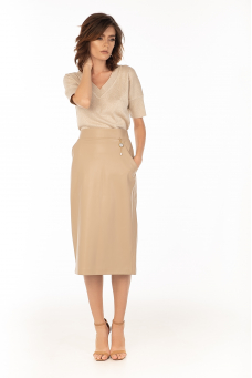 Классическая юбка из эко-кожи, бежевый