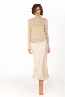 Сатиновая юбка, бежевый
