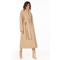 Стеганое пальто из эко-кожи, бежевый