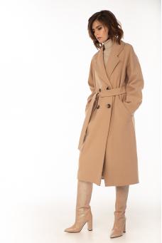 Двубортное пальто с отстрочкой, песочное