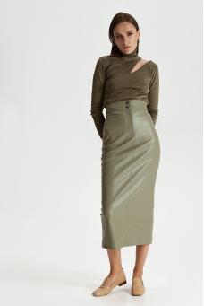 Прямая юбка из эко-кожи, фисташковый