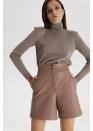 Стеганые шорты из эко-кожи, мокко