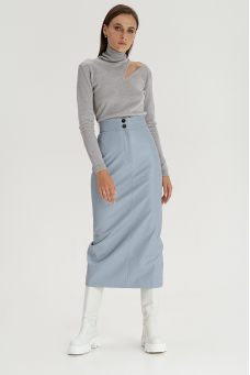 Прямая юбка из эко-кожи, серо-голубой