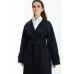 Пальто на запах из шерсти, темно-синее