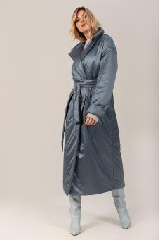 Пальто-пуховик, серо-голубой