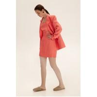 Короткая юбка из льна, коралловый