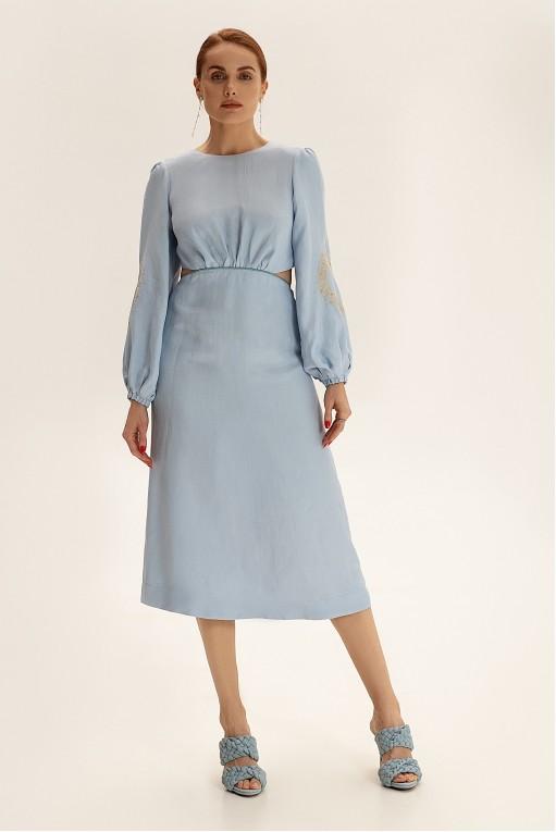 Платье миди с вырезами, голубой
