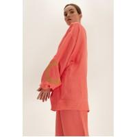 Короткое кимоно из льна, коралловый
