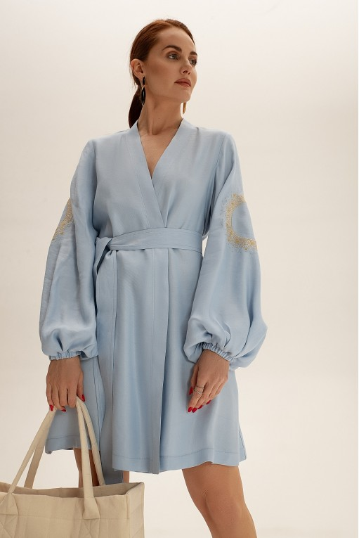 Платье короткое на запах, голубой