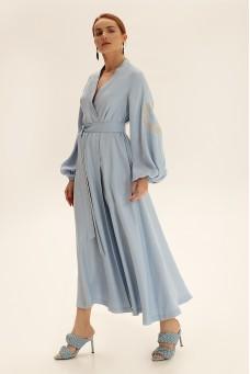 Платье длинное на запах, голубой