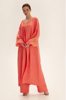 Костюм с длинным кимоно, коралловый