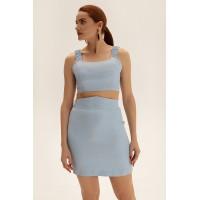 Короткая юбка из льна, голубой