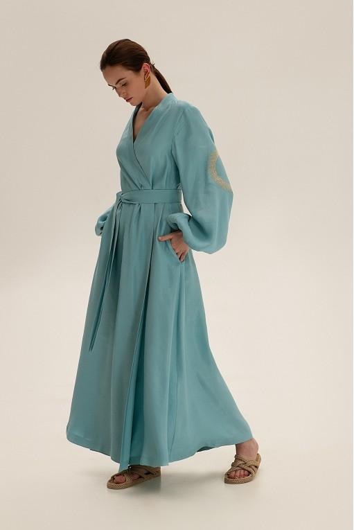 Платье длинное на запах, бирюзовый