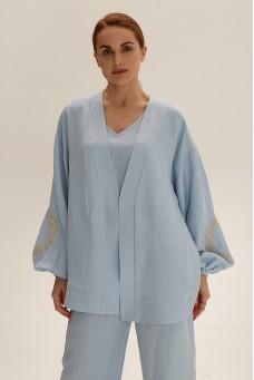 Короткое кимоно из льна, голубой