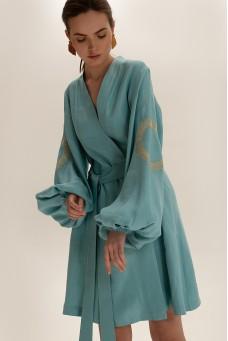 Платье короткое на запах, бирюзовый