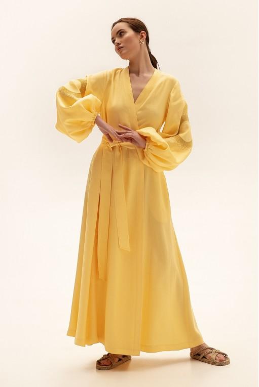 Платье длинное на запах, желтый