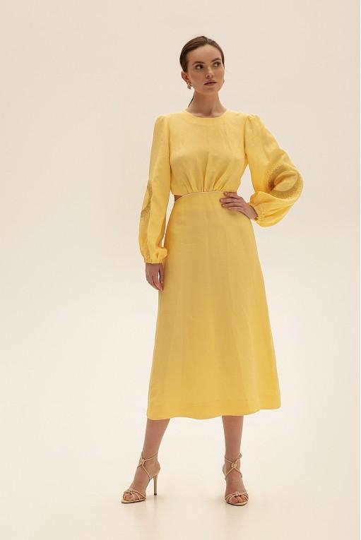 Платье миди с вырезами, желтый