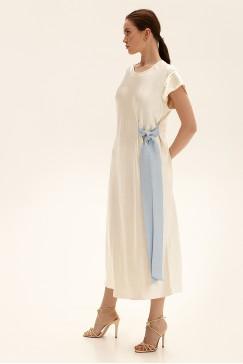 Платье миди с контрастным декором, молочный