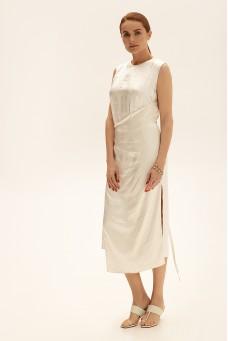 Платье миди с вышивкой, молочный