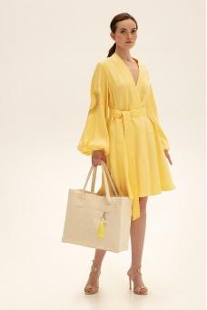 Платье короткое на запах, желтый