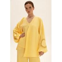 Короткое кимоно из льна, желтый