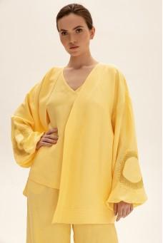 Костюм с коротким кимоно, желтый