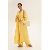 Длинное кимоно из льна, желтый