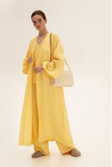Костюм с длинным кимоно, желтый