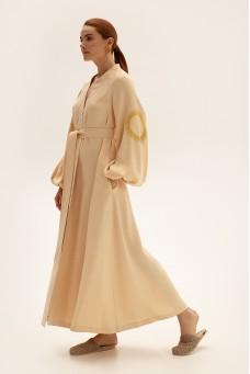 Платье длинное на запах, молочный