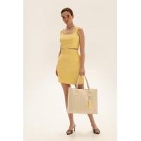 Короткая юбка из льна, желтый