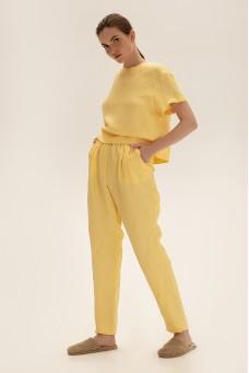 Зауженные брюки из льна, желтый