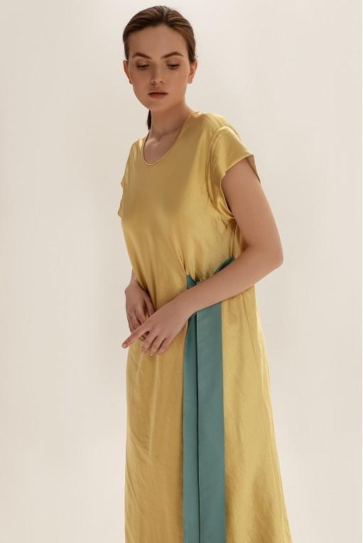 Платье миди с контрастным декором, желтый