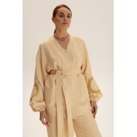 Короткое кимоно из льна, молочный