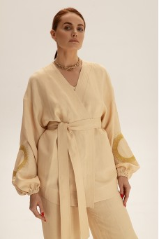 Костюм с коротким кимоно, молочный