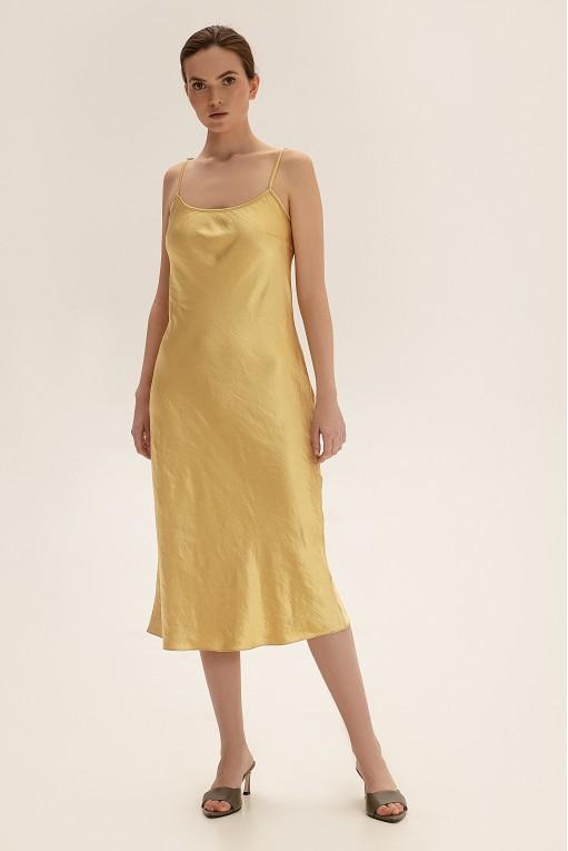 Slip dress cо съемным декором на спине, желтый