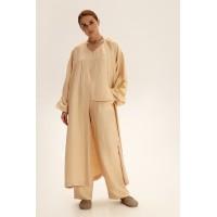 Длинное кимоно из льна, молочный