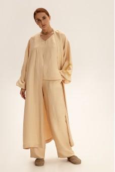 Костюм с длинным кимоно, молочный