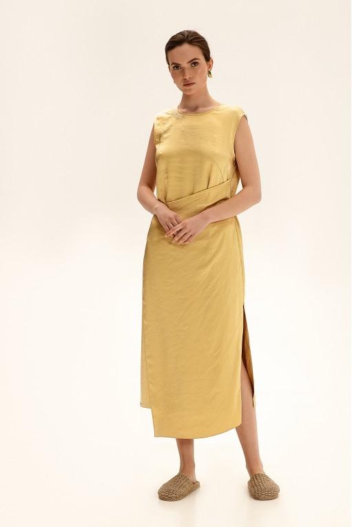 Платье миди с вышивкой, желтый