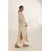 Легкое платье-рубашка с вышивкой, молочный