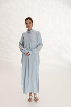 Легкое платье-рубашка с вышивкой, голубой
