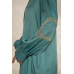 Легкое платье-рубашка с вышивкой, бирюзовый
