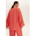 Костюм с коротким кимоно, коралловый