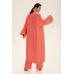 Длинное кимоно из льна, коралловый
